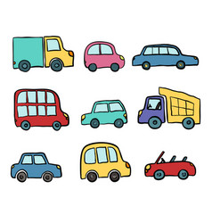 Big set of hand drawn cute cartoon cars for kids vector