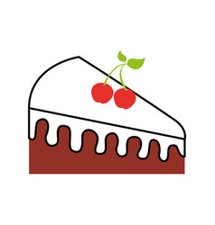 birthdat piece cake berries sweet tasty food vector image