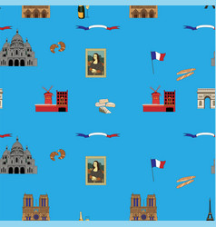 Blue paris seamless pattern hand-drawn landmarks vector