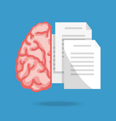 brain and text notes to knowledge education vector image