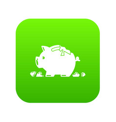 Broken piggy bank icon green vector