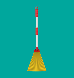 Broom with plastic handle household accessories vector