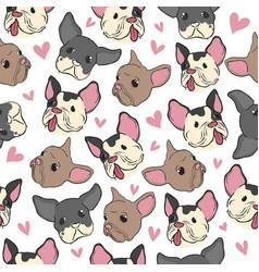 bulldog pattern little puppy fashion retro style vector image
