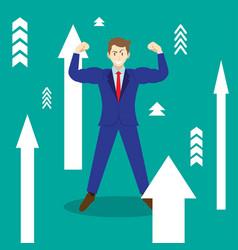 businessman among upward arrows vector image
