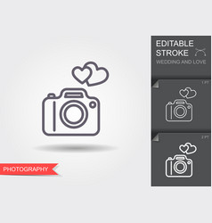 camera with hearts line icon with shadow and vector image