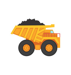 Cartoon mining dump truck for coal transportation vector