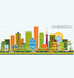 Chengdu china skyline with color buildings and vector