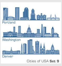 cities usa - portland washington denver vector image