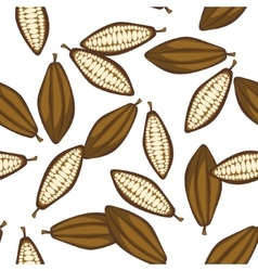 Cocoa beans seamless pattern Chocolate background vector image