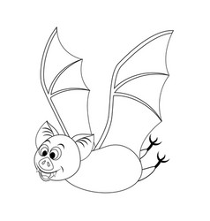 colorless funny cartoon halloween bat flying vector image