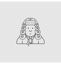 contour icon judge in a wig and gown vector image vector image