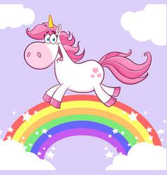 Cute magic unicorn cartoon character running vector