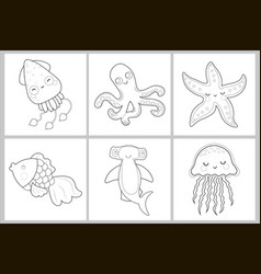 cute set coloring page vector image