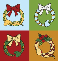 Cute snake wreaths for the New year of the snake w vector image