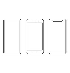 different style smartphone line icons vector image