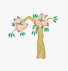 Doodle flat fruit tree in vector