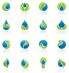 Drops and leaves design elements vector