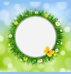 easter card with grass and flowers vector image