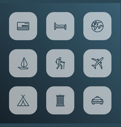 exploration icons line style set with bank card vector image