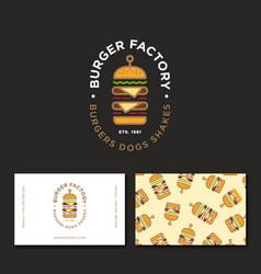 Flat burger factory logo restaurant emblem pattern vector