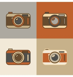 Flat retro camera icons vector image