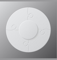 four pieces jigsaw puzzle circles info graphic vector image