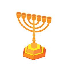 golden hanukkah or menorah isometric flat vector image