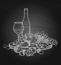 graphic wine glass and bottle decorated with vector image