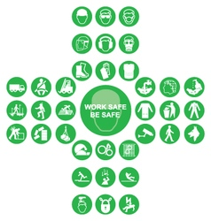 Green cruciform health and safety icon collection vector
