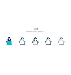 Hack icon in different style two colored and vector