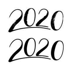 handwritten lettering 2020 hand drawn numbers vector image