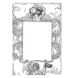Hans in luck frame has a story in this pattern vector