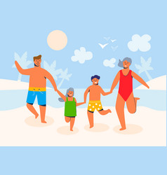 happy family on summer vacation characters vector image