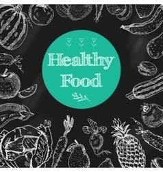 Healthy food chalkboard background vector
