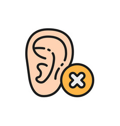 Hearing loss bad test flat color line vector
