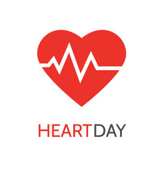 Heartbeat icon in flat style for medical apps and vector