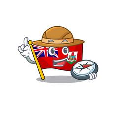 Holding compassflag bermuda isolated cartoon the vector