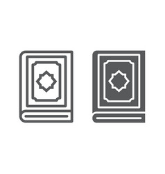 Holy quran book line and glyph icon islam and vector