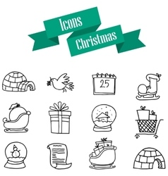Icons of Christmas theme hand draw vector