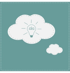 Idea light bulb in speech and thought bubble cloud vector