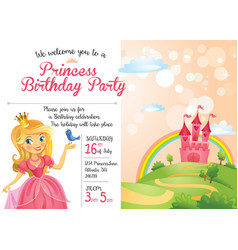 Invitation to princess birthday party vector