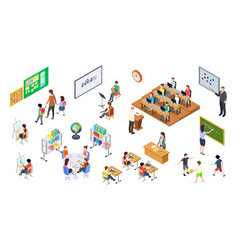 isometric school 3d college teachers board and vector image