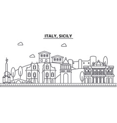 Italy sicily architecture line skyline vector