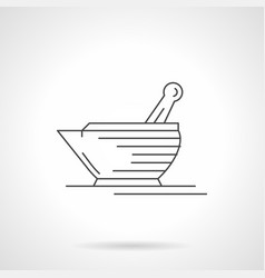 Laboratory mortar and pestle flat line icon vector
