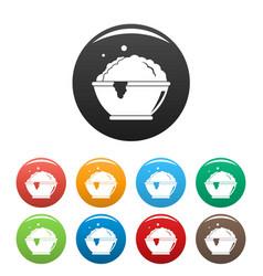 laundry bubble icons set color vector image