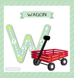 Letter w uppercase tracing wagon vector