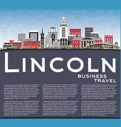 Lincoln nebraska city skyline with color vector