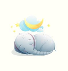 Little baby elephant sleeping eyes closed happy vector