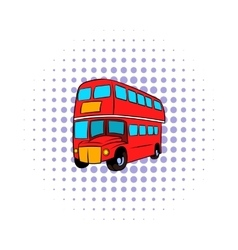 London double decker red bus icon comics style vector image