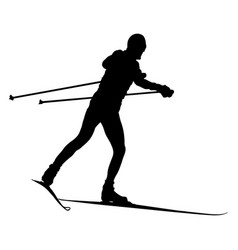 Male skier cross-country skiing vector